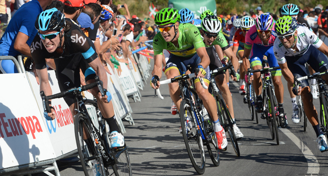 Vuelta 2013 3 etape Hovedfeltets spurt Rigoberto Uran og Nicolas Roche