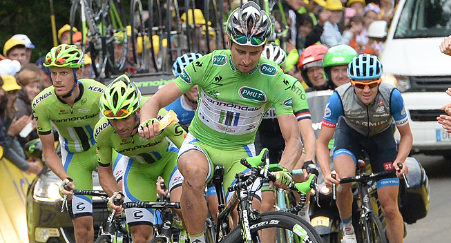 Photo: Peter Sagan is poised to win his third green jersey title at the Tour, but he's still searching for his first stage win. � (cyclingquotes.com).