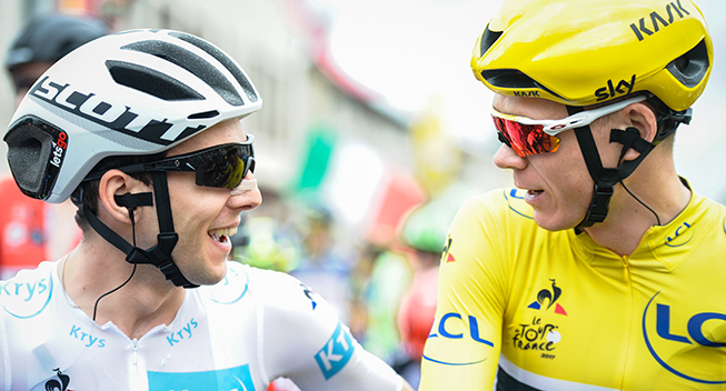 TdF2017 11 etape Chris Froome og Simon Yates prestart