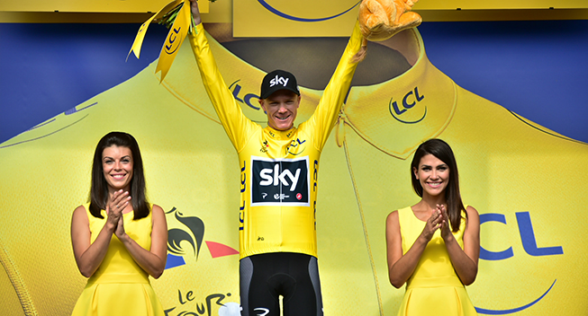TdF2017 11 etape Chris Froome podiet gult