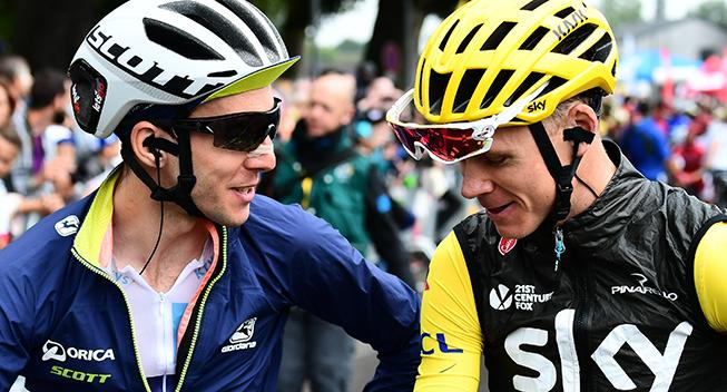 TdF2017 12 etape Chris Froome og Simon Yates prestart
