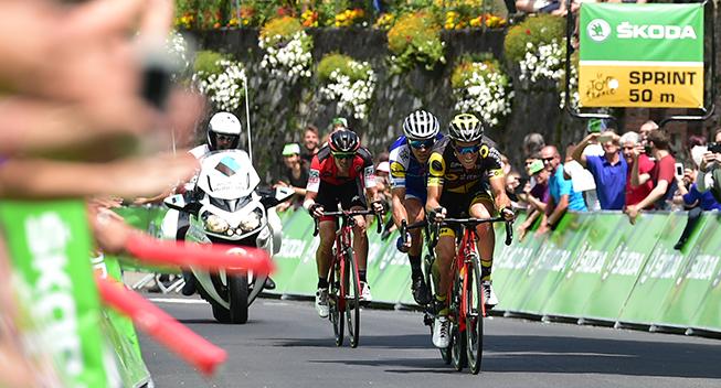 TdF2017 13 etape Sylvain Chavanel - Philippe Gilbert og Alessandro De Marchi udbrud