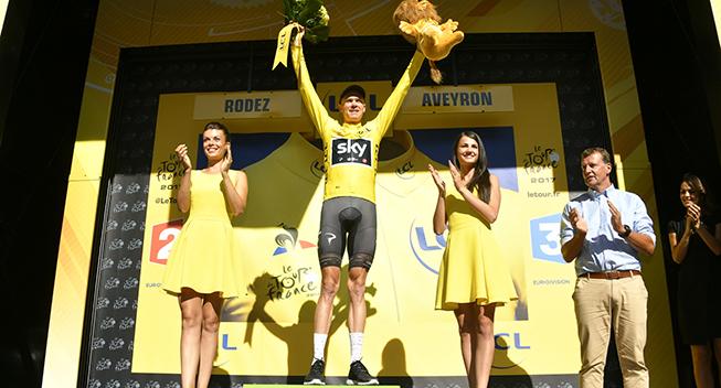 TdF2017 14 etape Chris Froome podiet gult