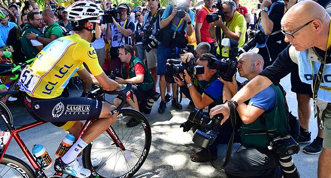 TdF2017 14 etape Fabio Aru og fotografer prestart