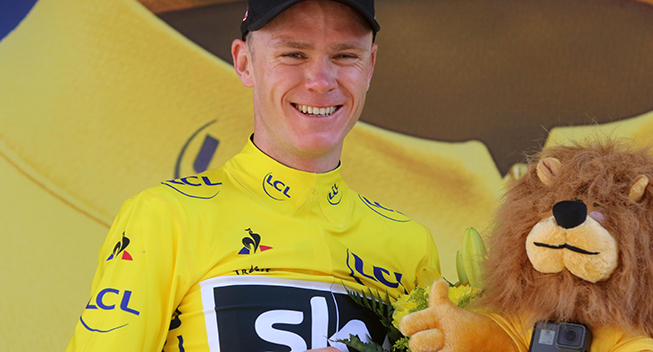 TdF2017 15 etape Chris Froome podiet gult