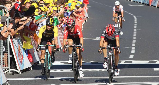 TdF2017 15 etape Diego Ulissi - Tony Gallopin - Primoz Roglic kampen om andenpladsen