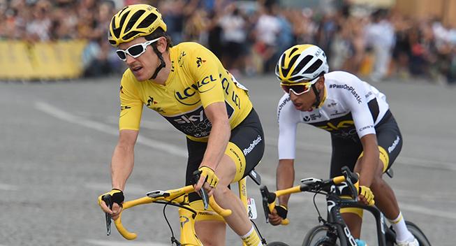 TdF2018 21 etape Geraint Thomas i gult og Egan Bernal