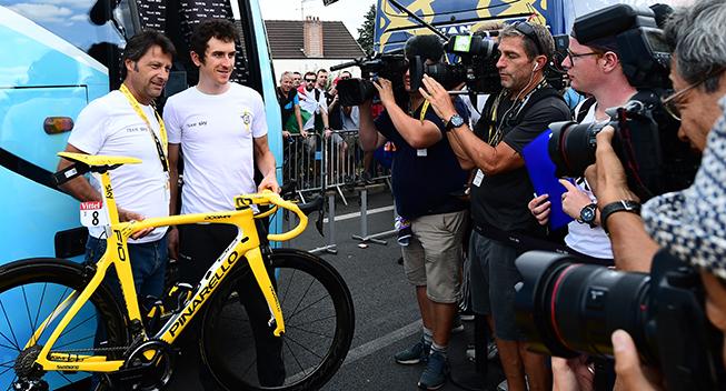 TdF2018 21 etape Geraint Thomas inden etapen presentation af gul cykel