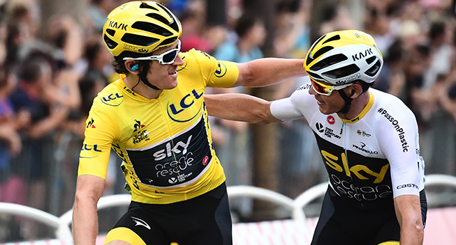 TdF2018 21 etape Geraint Thomas og Chris Froome