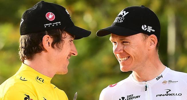 TdF2018 21 etape Geraint Thomas og Chris Froome - podiets nummer et og tre