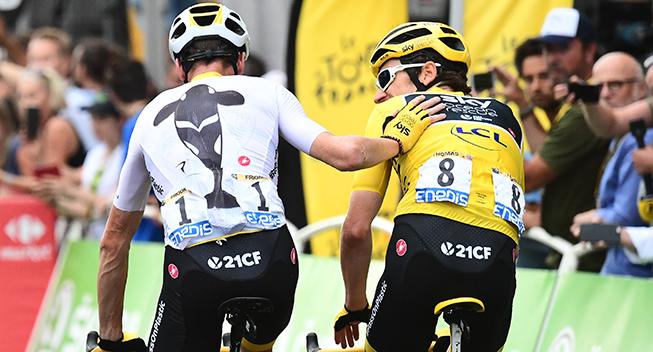 TdF2018 21 etape Geraint Thomas og Chris Froome bagfra