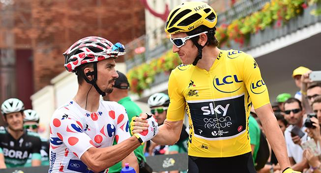 TdF2018 21 etape Geraint Thomas og Julian Alaphilippe prestart