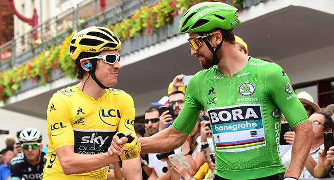 TdF2018 21 etape Geraint Thomas og Peter Sagan prestart