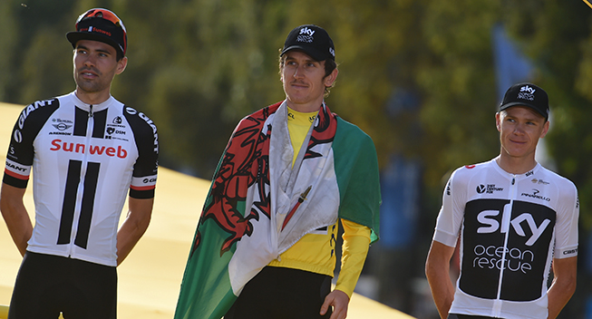 TdF2018 21 etape podiet - Geraint Thomas Tour-vinder - Tom Dumoulin toer og Chris Froome treer