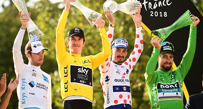 TdF2018 21 etape podiet trojerne - Pierre Latour Geraint Thomas Julian Alaphilippe og Peter Sagan