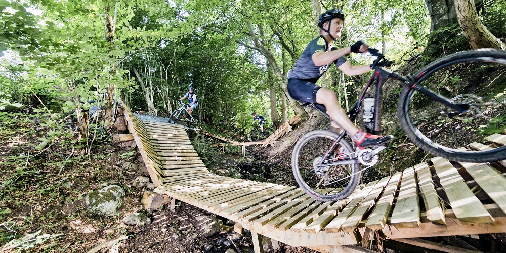 Områdets mountainbike-spor er udfordrende